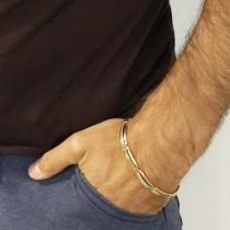צמיד לגבר, זהב צהוב ולבן, אורך 21 ס``מ