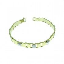 Bracelet for men, white and yellow gold, length 22 cm