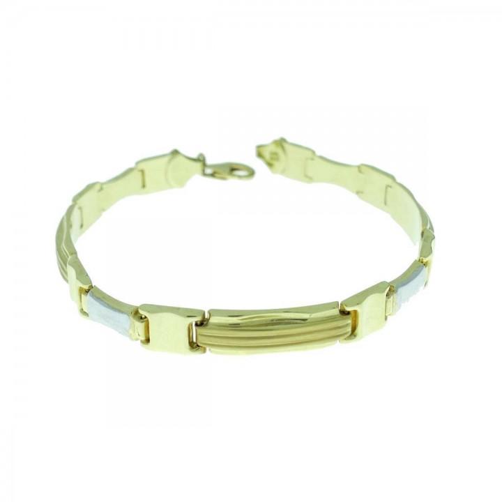 Bracelet for men, white and yellow gold, length 22.5 cm