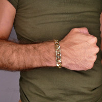 Браслет для мужчины, желтое золото 14 карат, длина 20.5 см