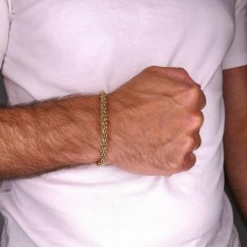 Браслет для мужчины, желтое золото 14 k,  длина 19.5 см