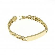 Bracelet for a man, yellow gold, length 19 cm, cubic zirconia