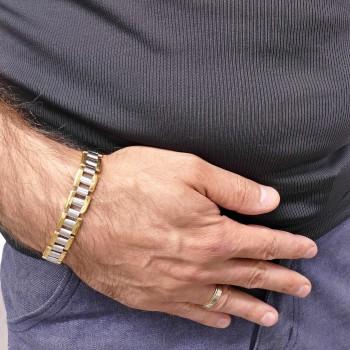 Bracelet for men, yellow and white gold, length 20 cm