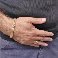 Браслет для мужчины, желтое золото, длина 19 см, цирконий