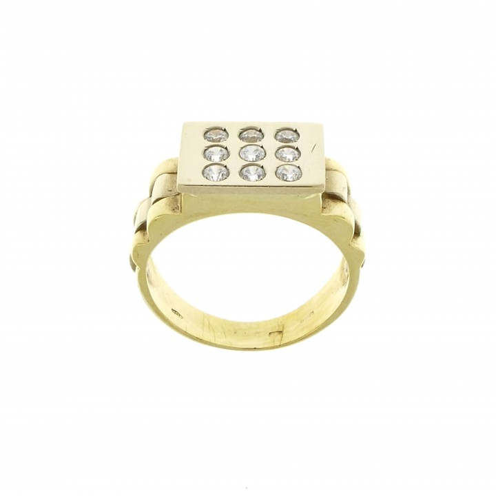 Men's ring, 14K yellow gold with cubic zirconia