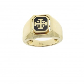 Men's gold ring, 14K yellow gold with onyx