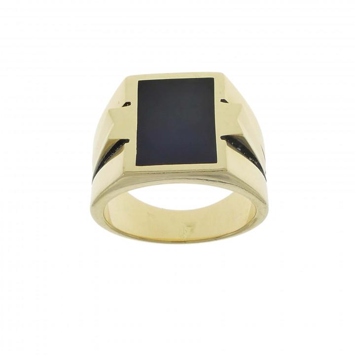 Мужской перстень с ониксом и цирконием