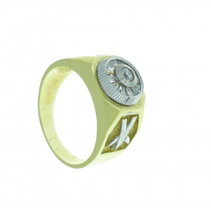 Кольцо для мужчины, желтое и белое золото 14 карат с фианитами