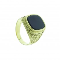 Ring for a man, 14K yellow gold with onyx
