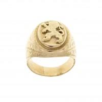 Мужское кольцо, красное золото 14 карат