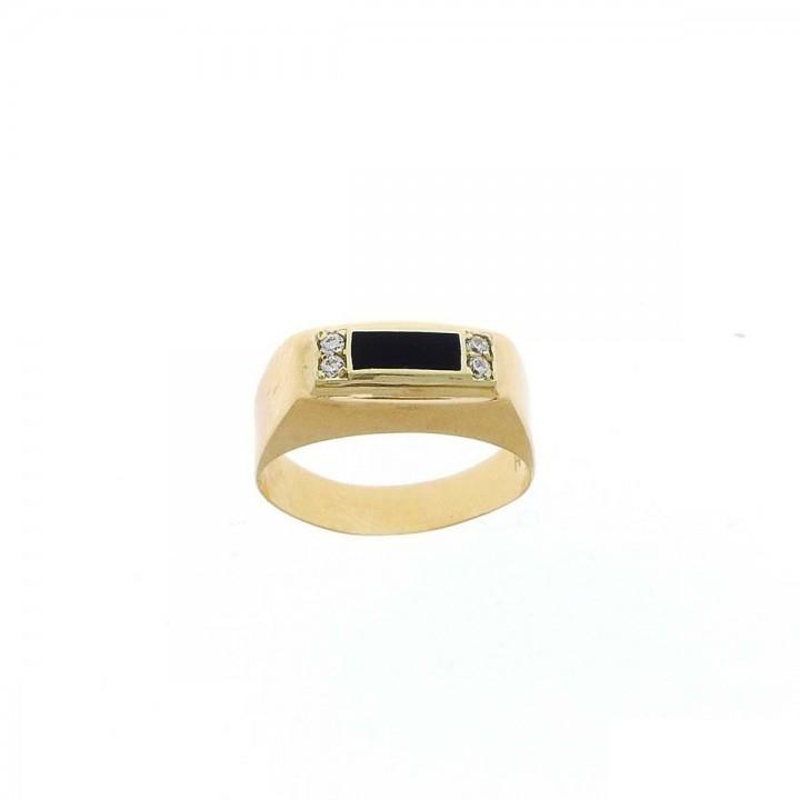 Кольцо для мужчин, красное золото, цирконий, размер 23/63