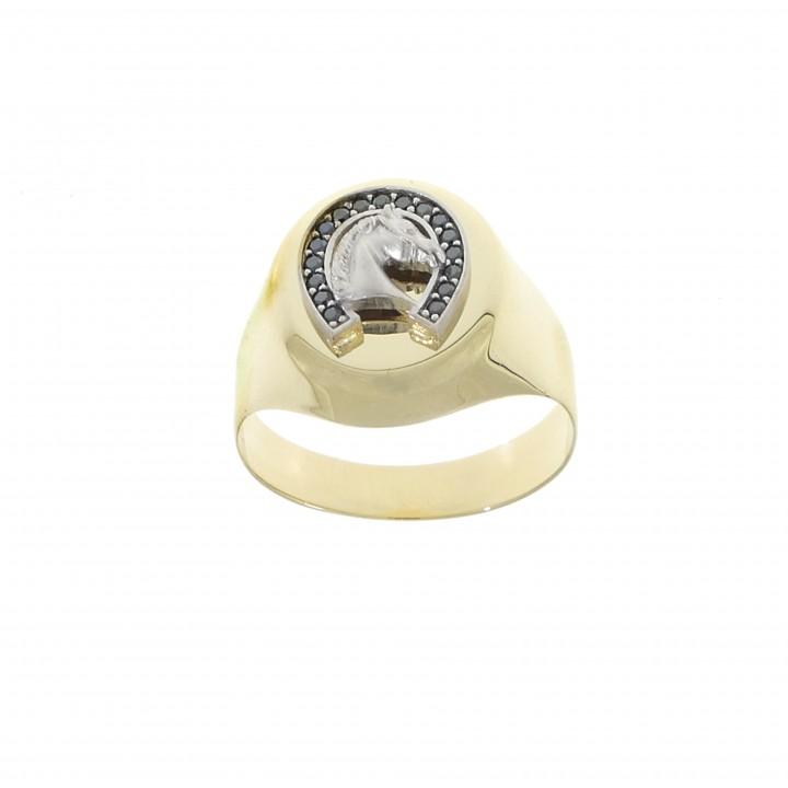 Золотое мужское кольцо, желтое золото 14 карат с цирконием