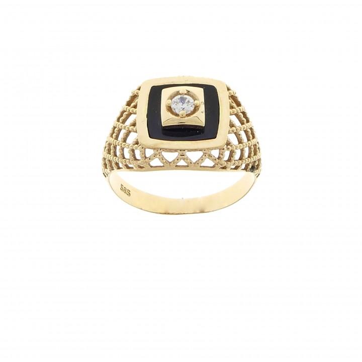 Мужское кольцо, красное золото 14 карат, цирконий