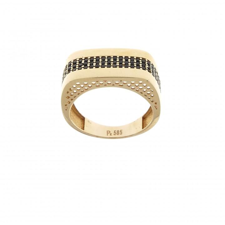 Men's ring, 14K red gold, cubic zirconia