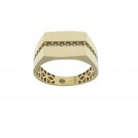 Кольцо для мужчины, жёлтое золото 14 карат, цирконий