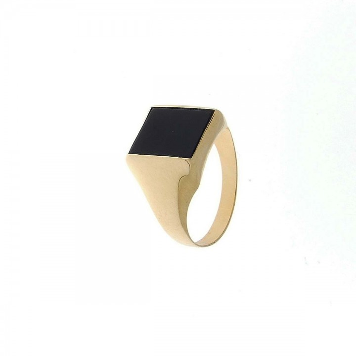 Gold ring for men, red gold and onyx