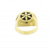 Кольцо для мужчины, желтое золото 14 карат с эмалью