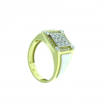 Ring for men, Yellow and white gold, zirconium