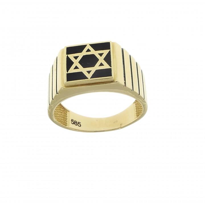 Золотое мужское кольцо, желтое золото 14 карат с ониксом