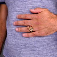 Мужское кольцо, красное и жёлтое  золото 14 карат