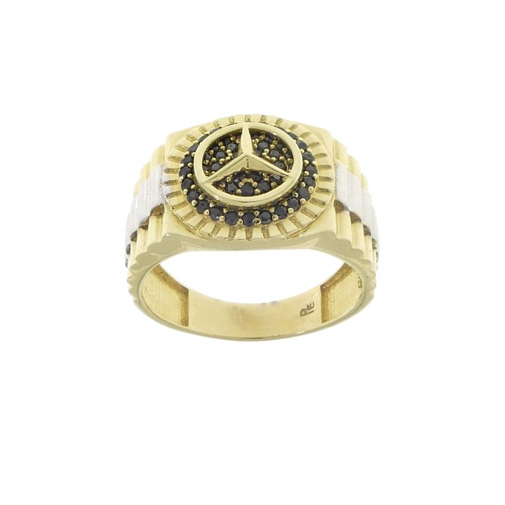 Men's gold ring, 14K yellow gold with cubic zirconia