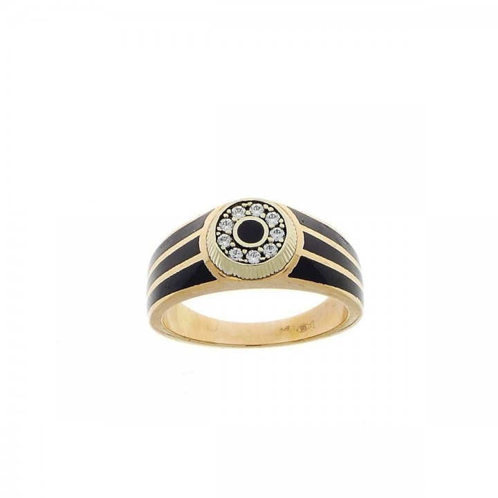Ring for men, red gold, onyx and zirconium