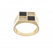 טבעת לגבר, זהב אדום 14 קראט עם זירקוניה מעוקבת ואמייל