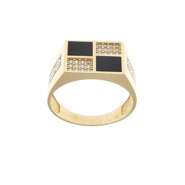 Ring for a man, 14K red gold with cubic zirkonia and enamel