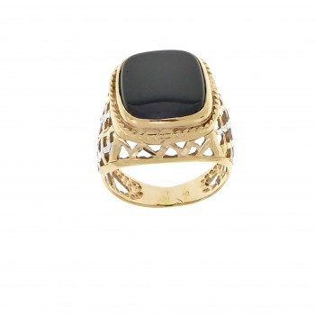 Кольцо для мужчины, красное золото 14 карат с ониксом