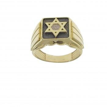 Men's ring - Magen David, 14K yellow gold with cubic zirconia