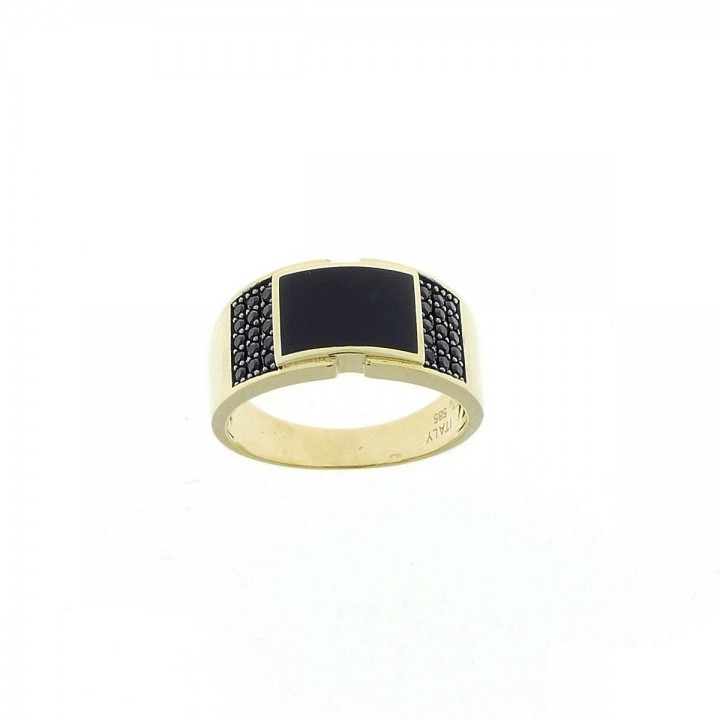 Ring for men, yellow gold, onyx and zirconium