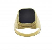 Золотое мужское кольцо, желтое золото, черный оникс
