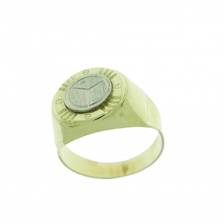 Ring for men, yellow and white gold