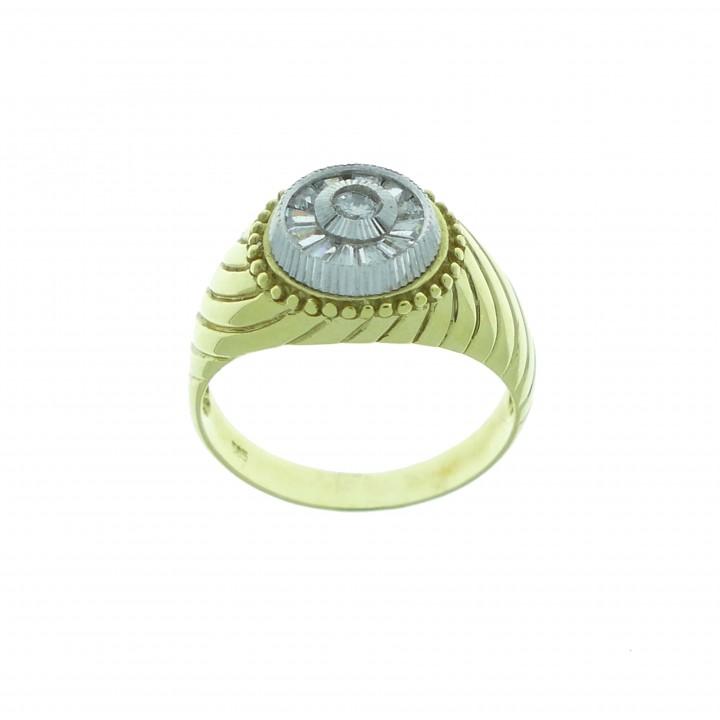 טבעת לגבר, זהב צהוב לבן 14 קראט עם זירקוניה מעוקבת