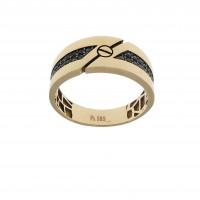 Мужское кольцо, красное золото 14 карат с цирконием