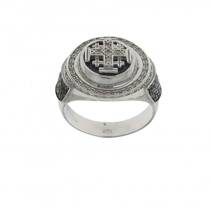 Men's ring with diamonds Jerusalem cross