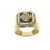 טבעת זהב לגברים עם יהלומים
