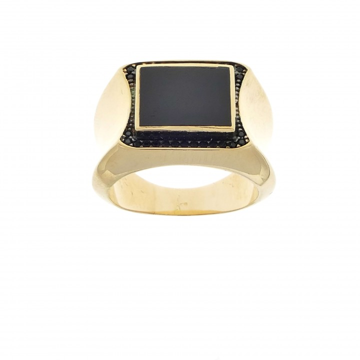 Men's ring, 14K red gold, cubic zirconia and onyx