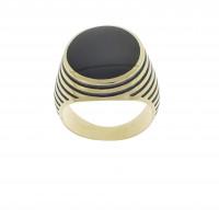 Кольцо для мужчины, желтое золото 14 карат с ониксом