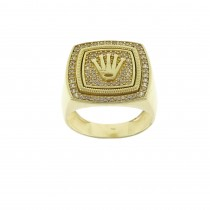 Ring for man with crown, 14K yellow gold with cubic zirconia