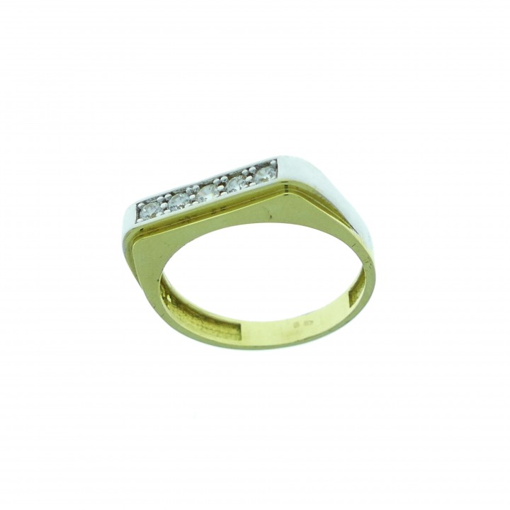 Кольцо для мужчин, желтое и белое золото, цирконий