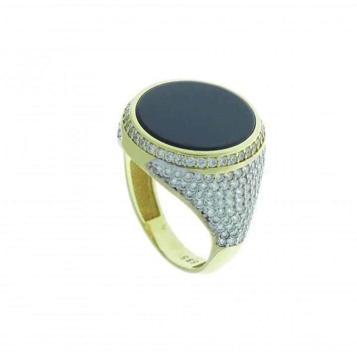 טבעת לגבר, זהב צהוב, אוניקס שחור וזירקוניום