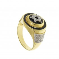 Gold ring for men with diamonds
