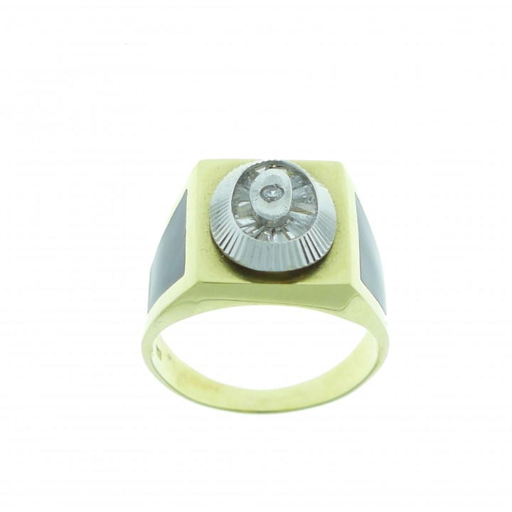 Ring for a man, 14K yellow and white gold with cubic zirkonia