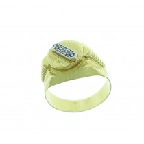 Gold men`s ring, yellow gold with zirconium