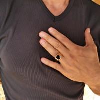 Кольцо для мужчин, красное золото, оникс и цирконий