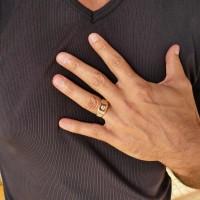 Кольцо для мужчин, красное золото, цирконий
