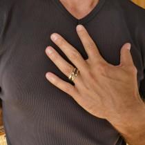 Кольцо для мужчин, желтое золото, цирконий