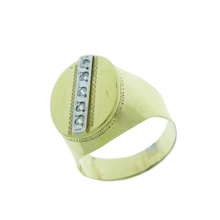 Золотое мужское кольцо, желтое золото с цирконием