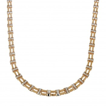 Chain for men, red and white gold, length 59 cm